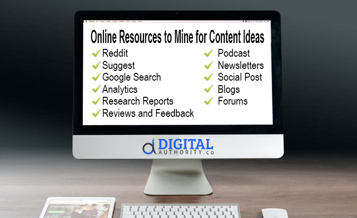 how to find content online -list of online resources to mine for content