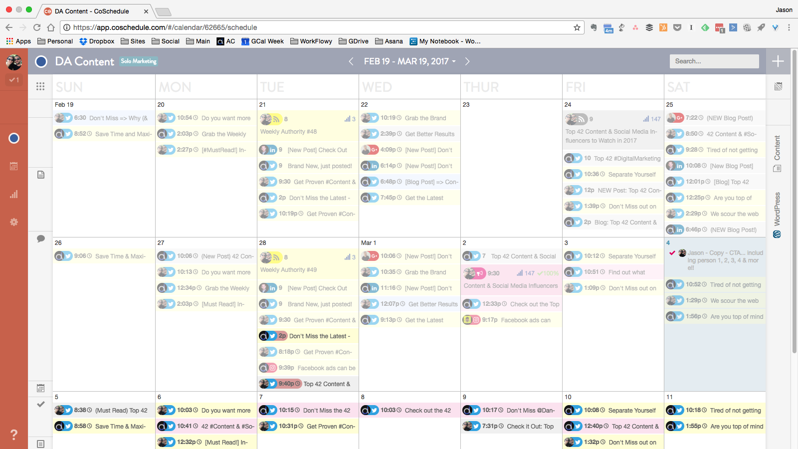 Screenshot of Digital Authority's CoSchedule Content Calendar