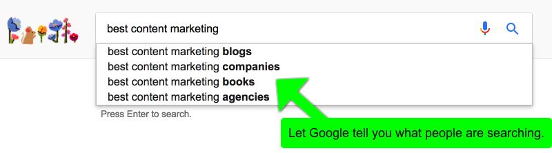 Content Marketing Tools 2017 - Google Suggest