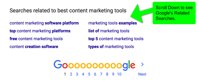 Content Marketing Tools 2017 - Google Related Seaches