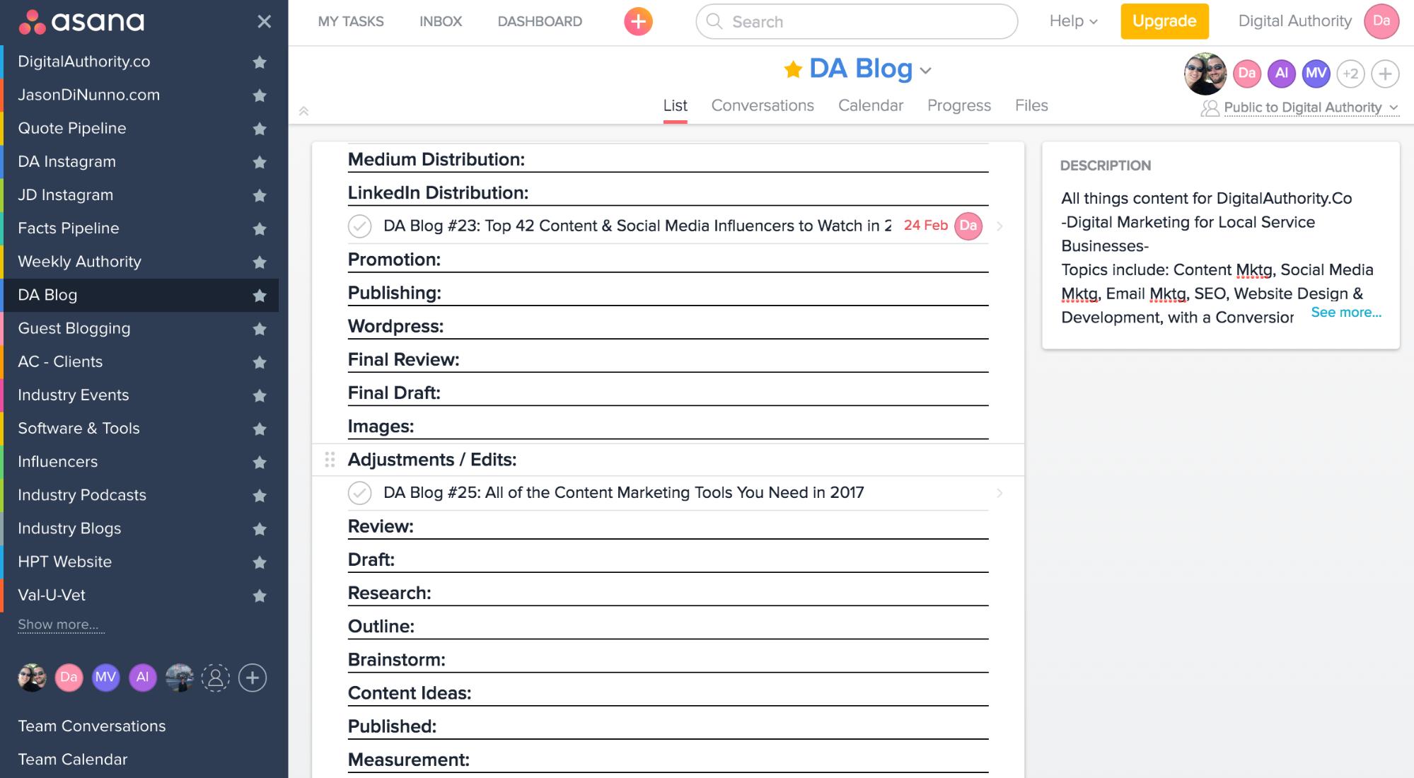 content marketing tools 2017 - asana